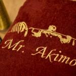 Вышивка имени и изображения качка на махровом халате
