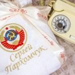 Герб СССР вышитый на халате в подарок