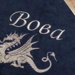 Именной халат с вышивкой дракона серебряной нитью