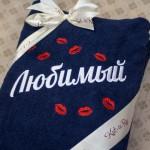 """Махровыый халат с белой вышивкой """"Любимый"""" и красными поцелуями"""