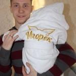 Халат с вышивкой малышу на крещение