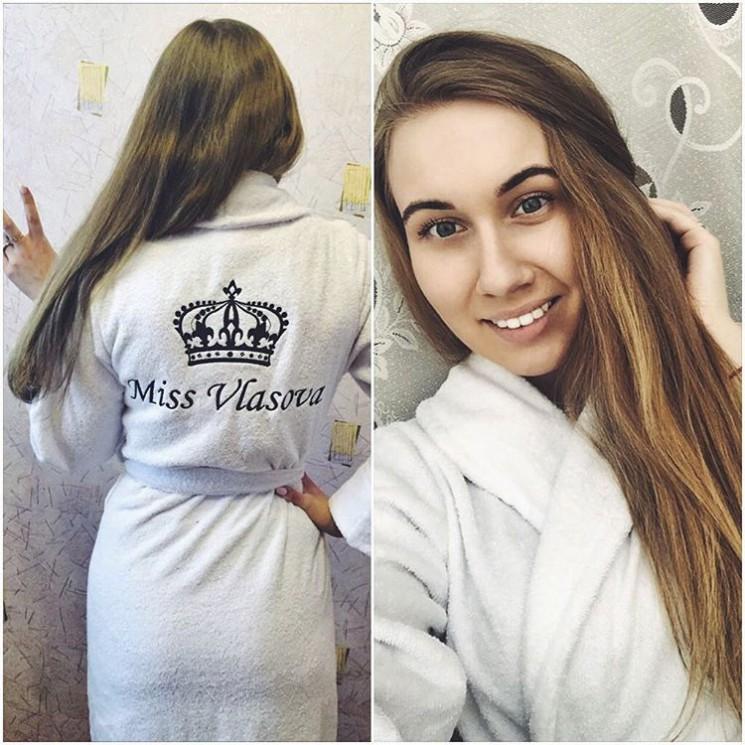 Именной халат с короной для Виктории Власовой